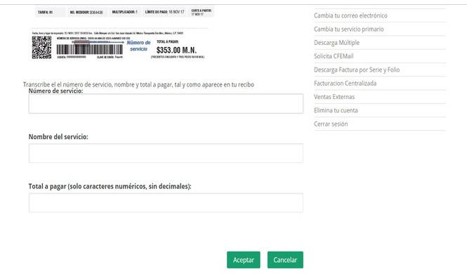 Registro de recibo cfe en linea